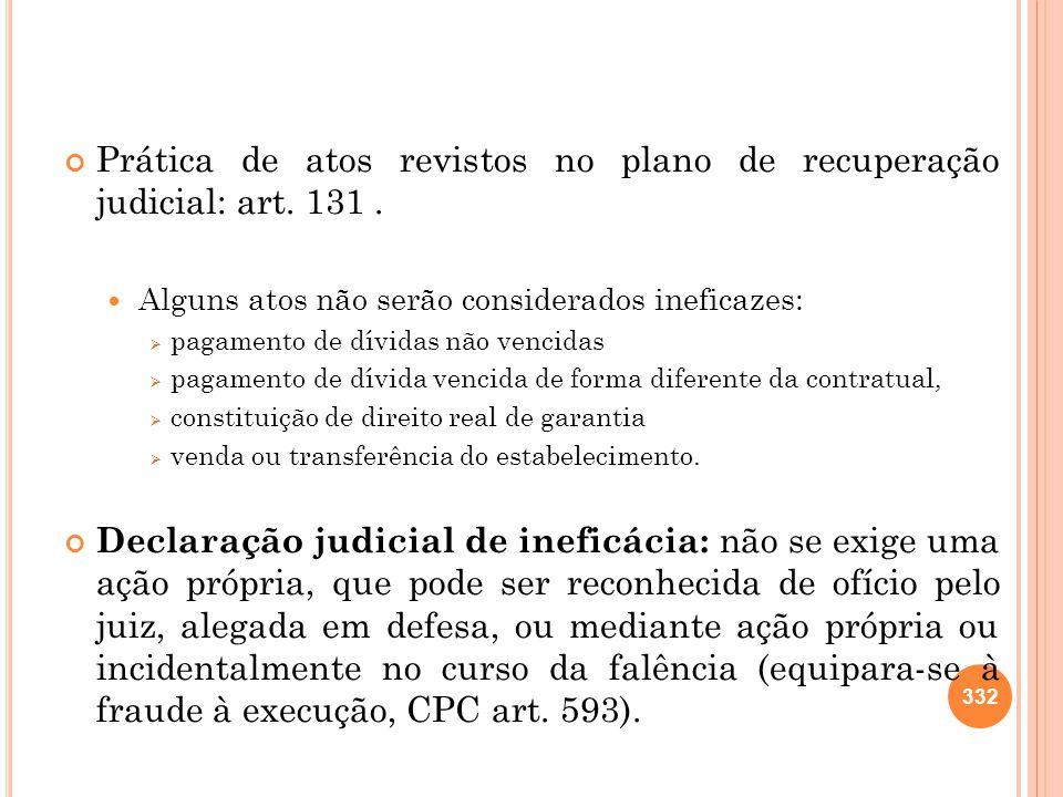 Prática de atos revistos no plano de recuperação judicial: art. 131. Alguns atos não serão considerados ineficazes: pagamento de dívidas não vencidas