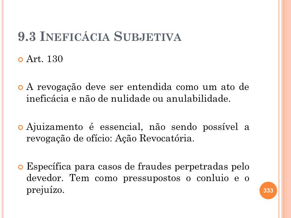 9.3 I NEFICÁCIA S UBJETIVA Art. 130 A revogação deve ser entendida como um ato de ineficácia e não de nulidade ou anulabilidade. Ajuizamento é essenci