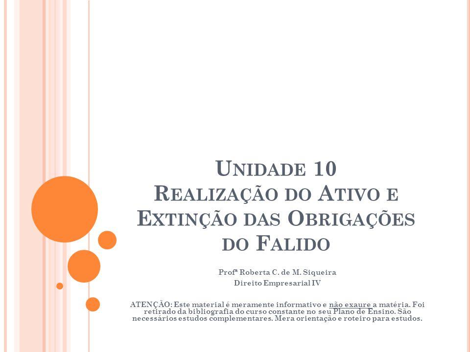 U NIDADE 10 R EALIZAÇÃO DO A TIVO E E XTINÇÃO DAS O BRIGAÇÕES DO F ALIDO Profª Roberta C. de M. Siqueira Direito Empresarial IV ATENÇÃO: Este material