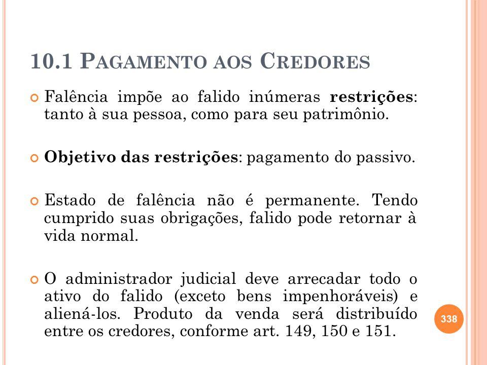 10.1 P AGAMENTO AOS C REDORES Falência impõe ao falido inúmeras restrições : tanto à sua pessoa, como para seu patrimônio. Objetivo das restrições : p