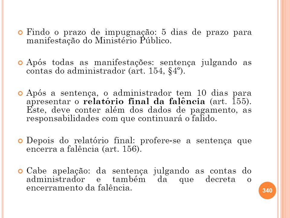Findo o prazo de impugnação: 5 dias de prazo para manifestação do Ministério Público. Após todas as manifestações: sentença julgando as contas do admi