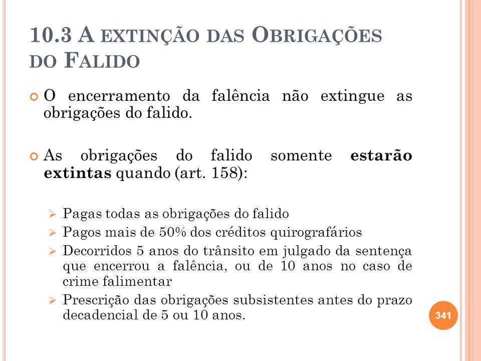 10.3 A EXTINÇÃO DAS O BRIGAÇÕES DO F ALIDO O encerramento da falência não extingue as obrigações do falido. As obrigações do falido somente estarão ex