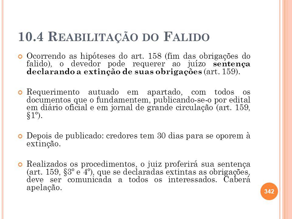 10.4 R EABILITAÇÃO DO F ALIDO Ocorrendo as hipóteses do art. 158 (fim das obrigações do falido), o devedor pode requerer ao juízo sentença declarando