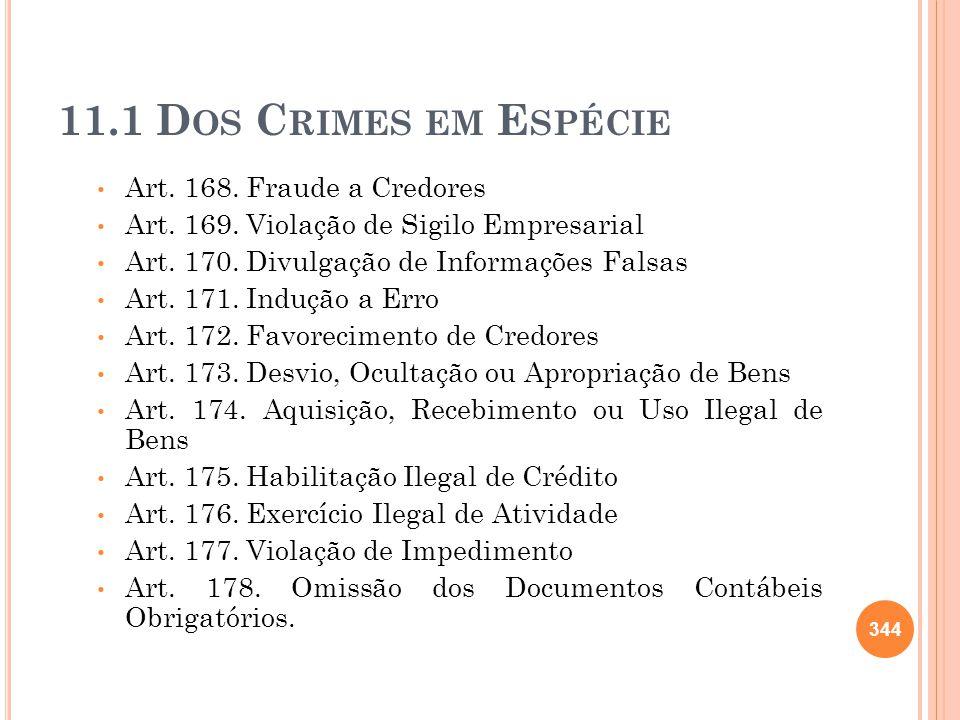 11.1 D OS C RIMES EM E SPÉCIE Art. 168. Fraude a Credores Art. 169. Violação de Sigilo Empresarial Art. 170. Divulgação de Informações Falsas Art. 171