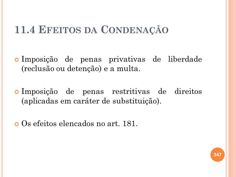 11.4 E FEITOS DA C ONDENAÇÃO Imposição de penas privativas de liberdade (reclusão ou detenção) e a multa. Imposição de penas restritivas de direitos (