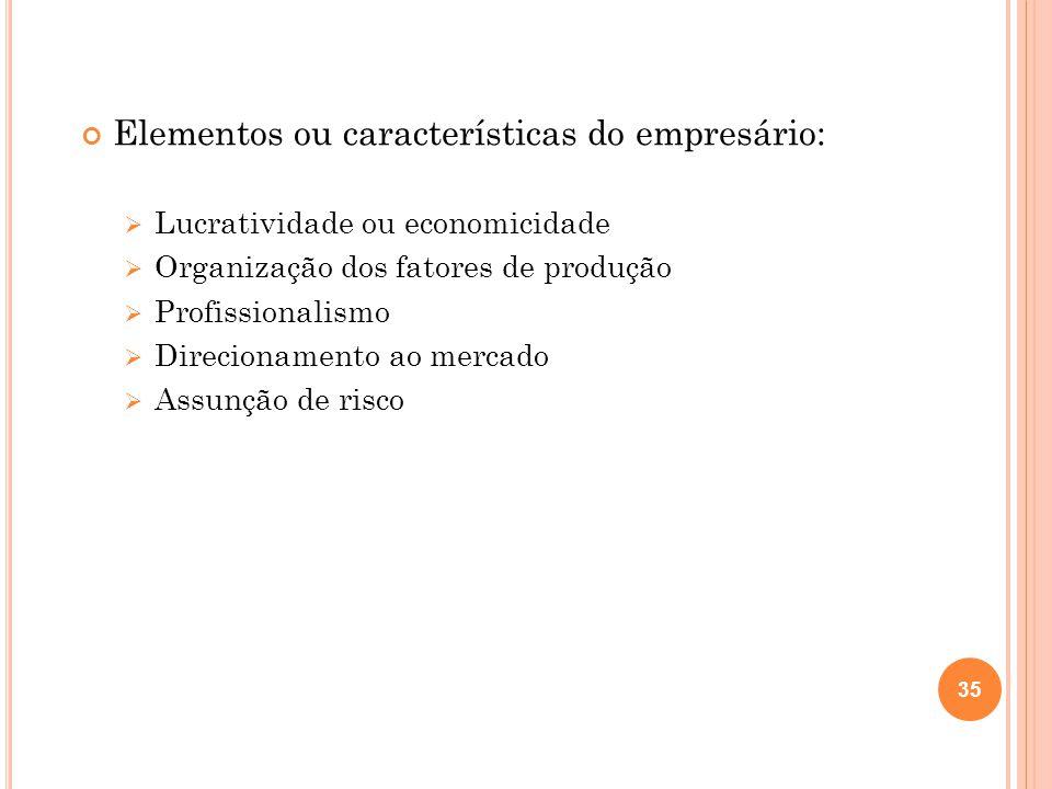 Elementos ou características do empresário: Lucratividade ou economicidade Organização dos fatores de produção Profissionalismo Direcionamento ao merc