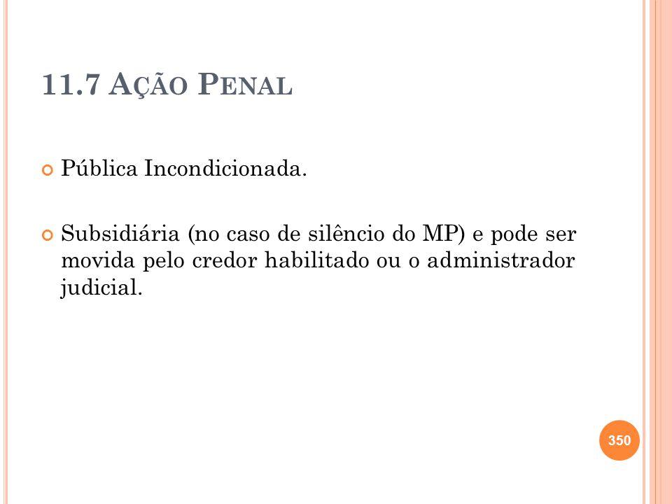 11.7 A ÇÃO P ENAL Pública Incondicionada. Subsidiária (no caso de silêncio do MP) e pode ser movida pelo credor habilitado ou o administrador judicial
