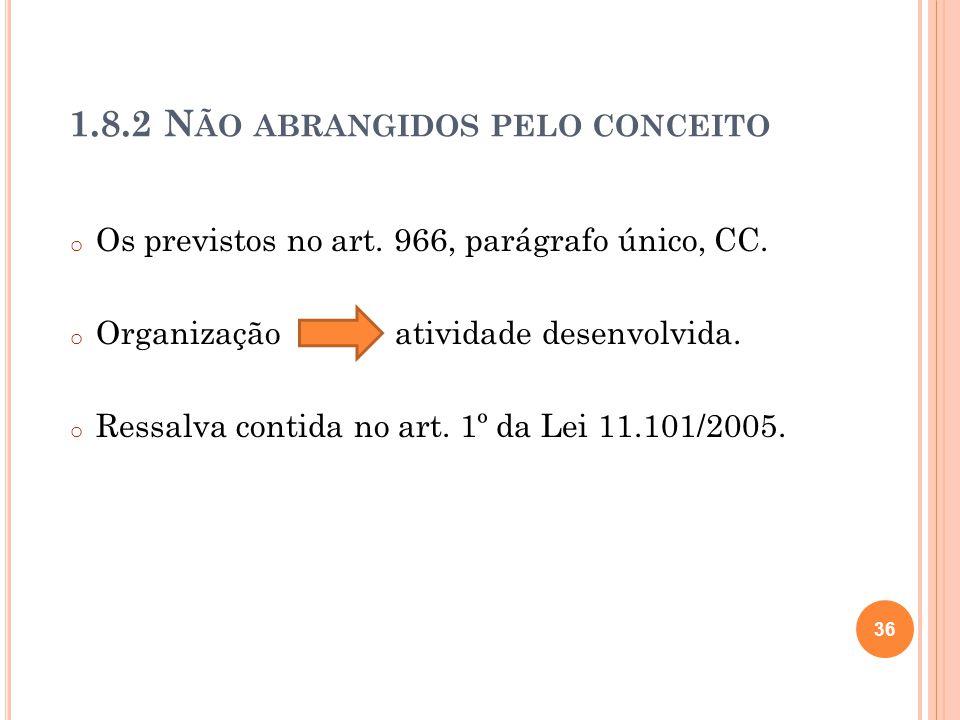 1.8.2 N ÃO ABRANGIDOS PELO CONCEITO o Os previstos no art. 966, parágrafo único, CC. o Organização atividade desenvolvida. o Ressalva contida no art.