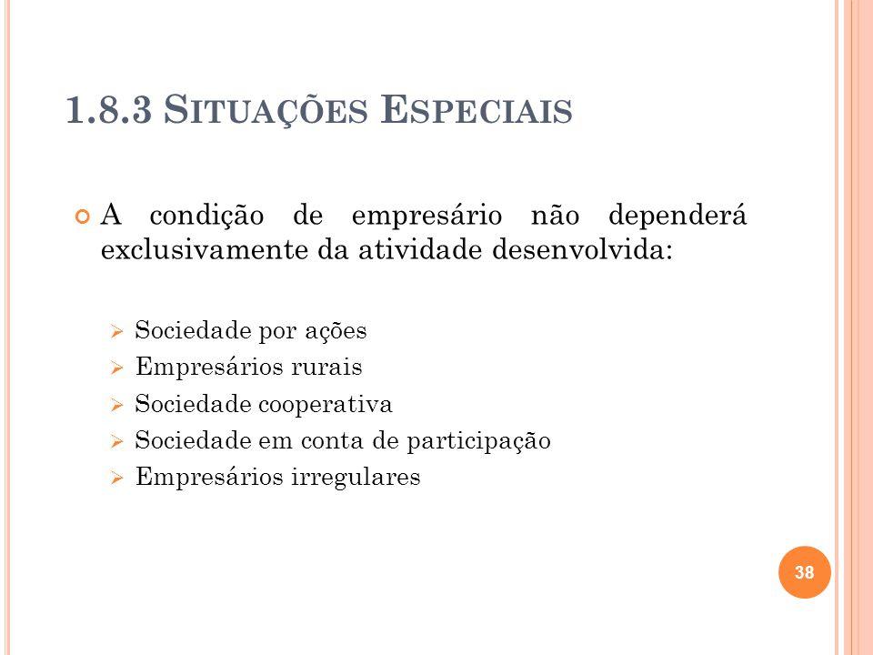 1.8.3 S ITUAÇÕES E SPECIAIS A condição de empresário não dependerá exclusivamente da atividade desenvolvida: Sociedade por ações Empresários rurais So