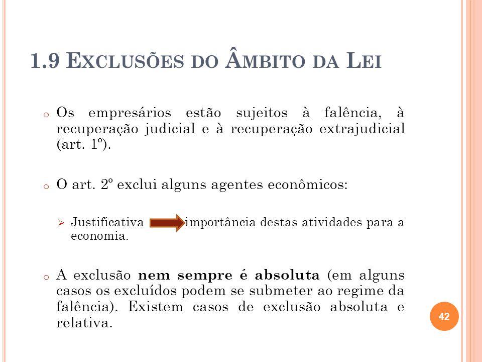 1.9 E XCLUSÕES DO Â MBITO DA L EI o Os empresários estão sujeitos à falência, à recuperação judicial e à recuperação extrajudicial (art. 1º). o O art.