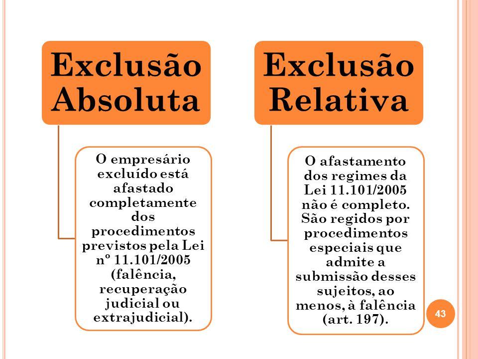 Exclusão Absoluta O empresário excluído está afastado completamente dos procedimentos previstos pela Lei nº 11.101/2005 (falência, recuperação judicia