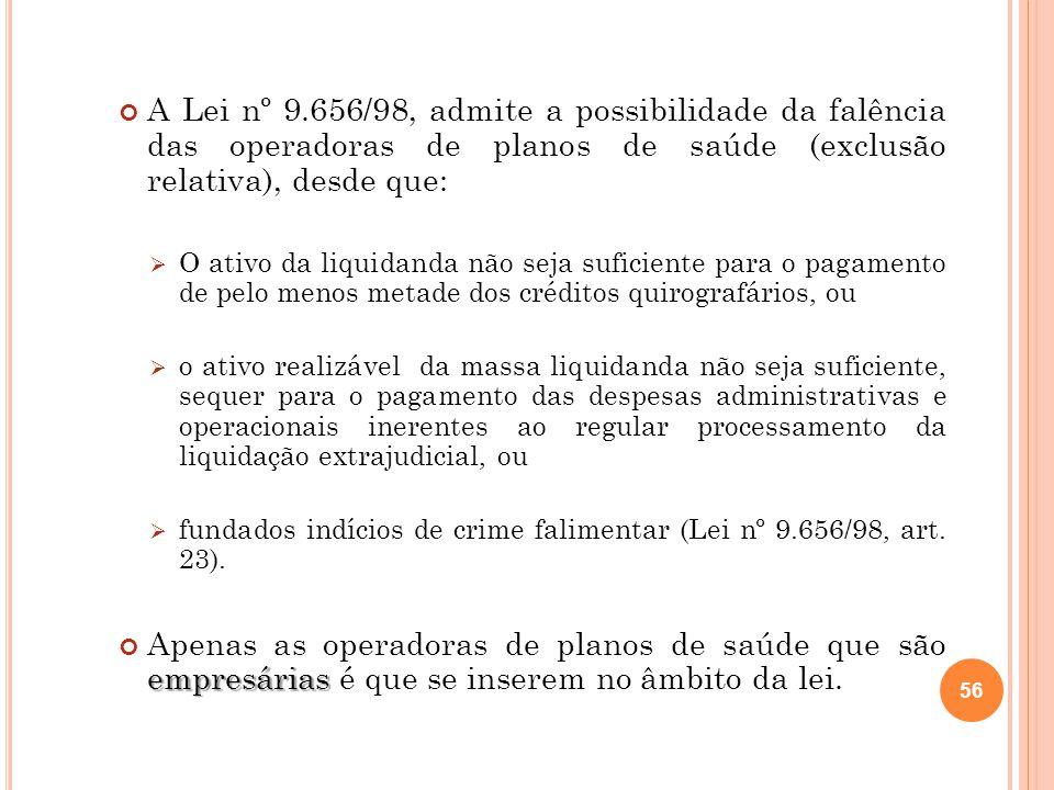 A Lei nº 9.656/98, admite a possibilidade da falência das operadoras de planos de saúde (exclusão relativa), desde que: O ativo da liquidanda não seja
