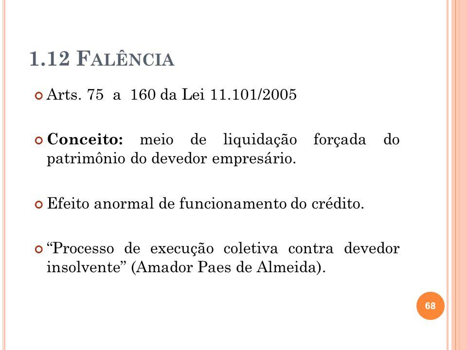 1.12 F ALÊNCIA Arts. 75 a 160 da Lei 11.101/2005 Conceito: meio de liquidação forçada do patrimônio do devedor empresário. Efeito anormal de funcionam