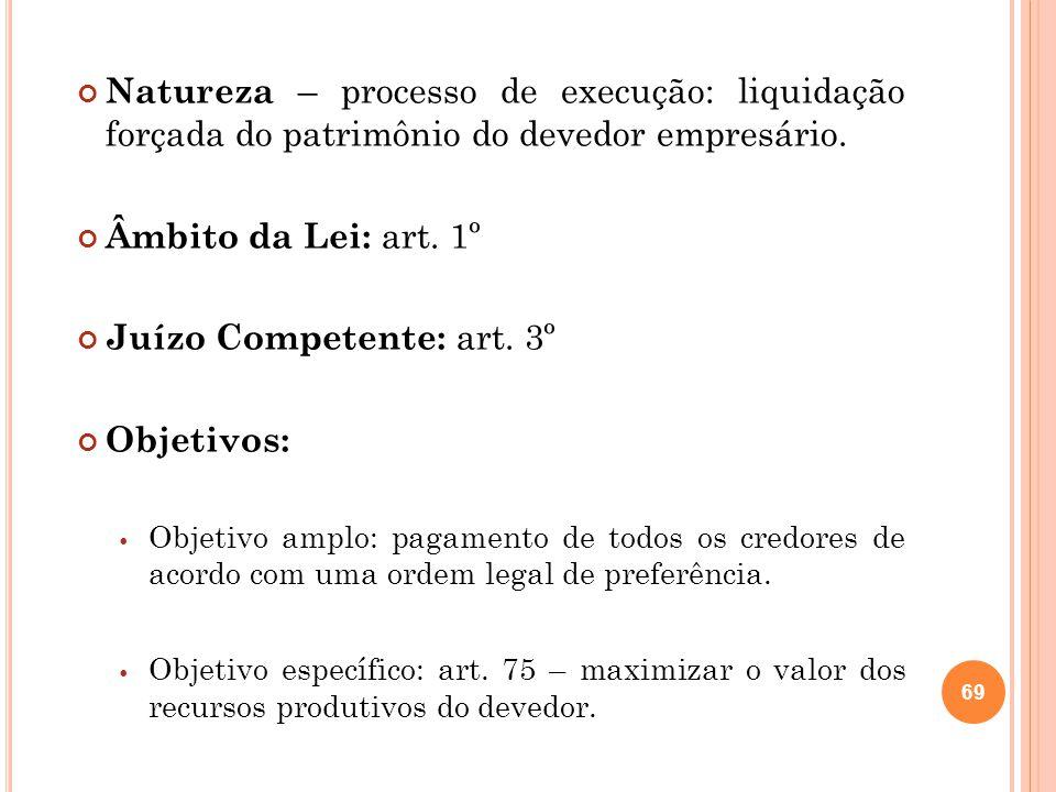 Natureza – processo de execução: liquidação forçada do patrimônio do devedor empresário. Âmbito da Lei: art. 1º Juízo Competente: art. 3º Objetivos: O