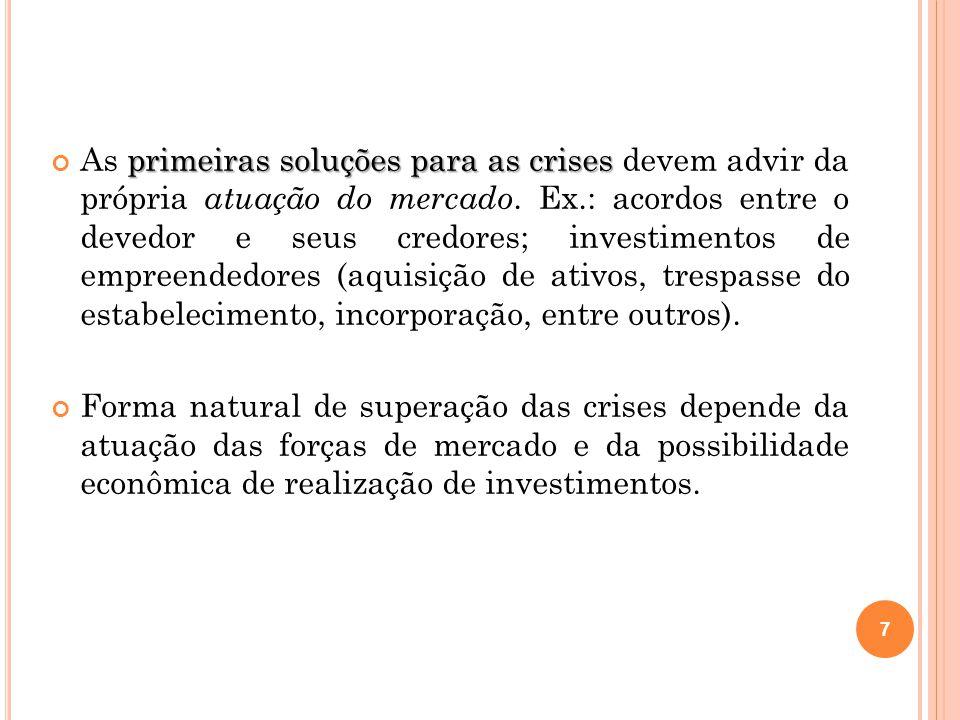 primeiras soluções para as crises As primeiras soluções para as crises devem advir da própria atuação do mercado. Ex.: acordos entre o devedor e seus