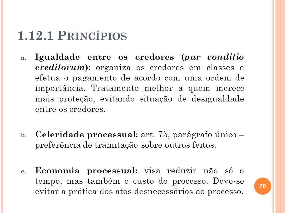 1.12.1 P RINCÍPIOS a. Igualdade entre os credores ( par conditio creditorum ): organiza os credores em classes e efetua o pagamento de acordo com uma