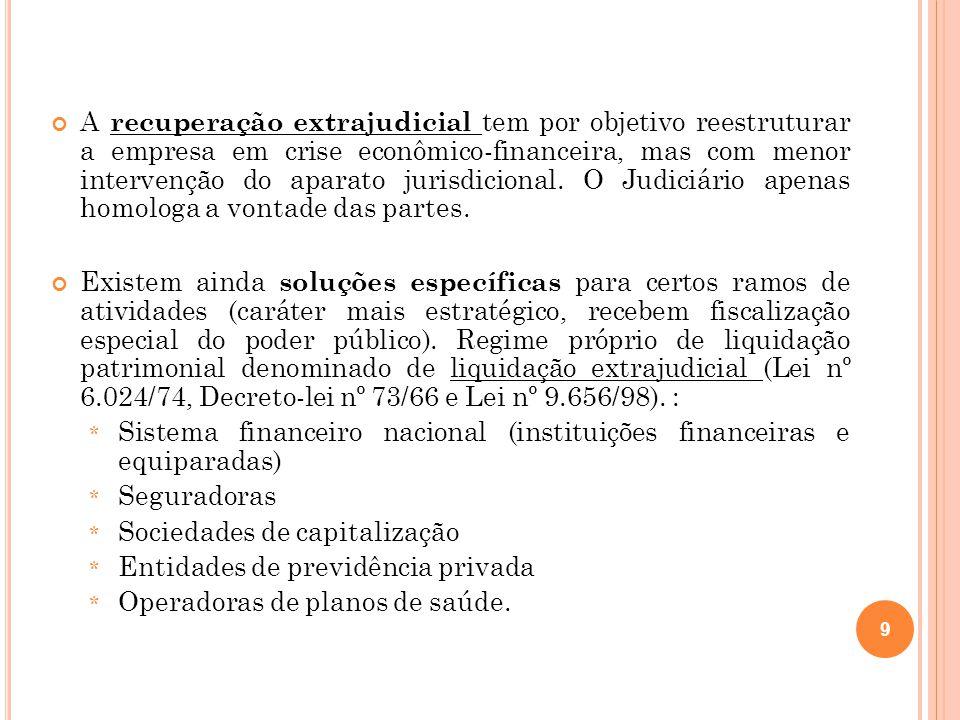 A recuperação extrajudicial tem por objetivo reestruturar a empresa em crise econômico-financeira, mas com menor intervenção do aparato jurisdicional.