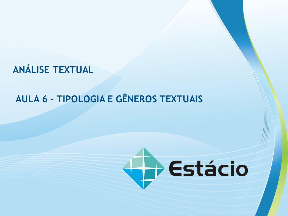 ANÁLISE TEXTUAL AULA 6 – TIPOLOGIA E GÊNEROS TEXTUAIS PARÁFRASE - ESCREVER COM OUTRAS PALAVRAS (AS PRÓPRIAS) AS PRINCIPAIS IDEIAS DE OUTRO AUTOR, DE OUTRO TEXTO.