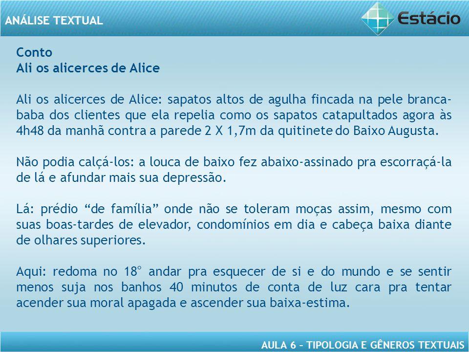 ANÁLISE TEXTUAL AULA 6 – TIPOLOGIA E GÊNEROS TEXTUAIS Conto Ali os alicerces de Alice Ali os alicerces de Alice: sapatos altos de agulha fincada na pe