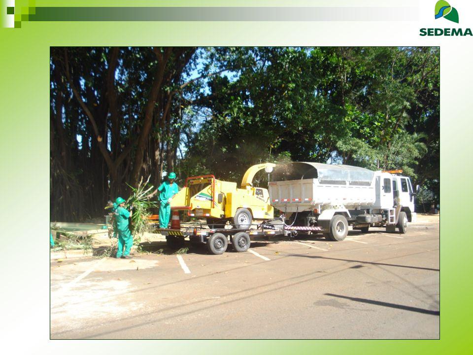 Resíduos da Arborização Situação Anterior Depósito em Pátio da Prefeitura Troca de Lenha com Olarias Sem compostagem Situação Atual Trituração na rua Enviado para compostagem