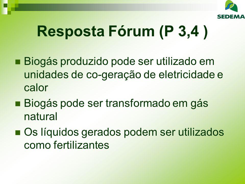 Resposta Fórum (P 3,4 ) O composto produzido é de alta qualidade e homogênio Permite obtenção de maiores créditos de Carbono Eletricidade-dados: 1 tonelada de resíduos orgânicos = 130 m3 de biogás 1 m3 = 1 Kwh Eficiência; 50%