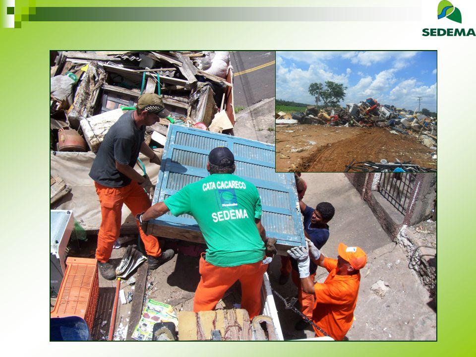 Móveis Inservíveis Situação Anterior Programa Catacacareco iniciado em 2 002 com 1 caminhão Situação Atual Programa Catacacareco com 2 caminhões Agendamento pelo 156