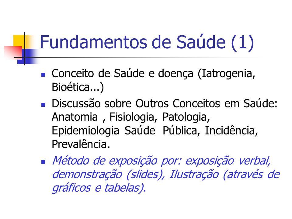 Fundamentos de Saúde (1) Conceito de Saúde e doença (Iatrogenia, Bioética...) Discussão sobre Outros Conceitos em Saúde: Anatomia, Fisiologia, Patolog