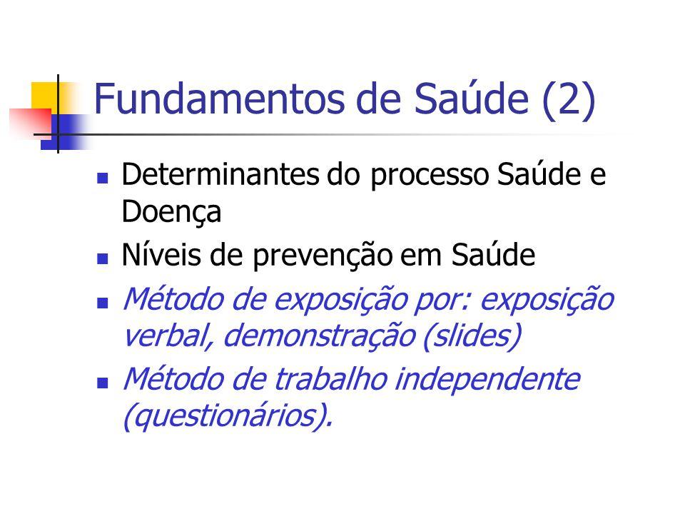 Fundamentos de Saúde (2) Determinantes do processo Saúde e Doença Níveis de prevenção em Saúde Método de exposição por: exposição verbal, demonstração