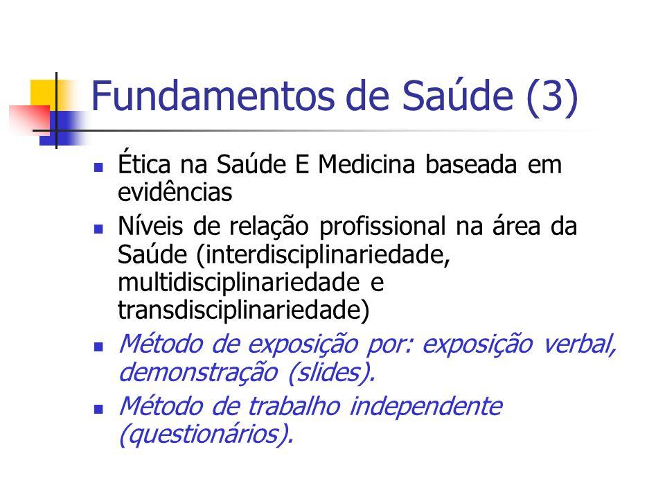 Fundamentos de Saúde (3) Ética na Saúde E Medicina baseada em evidências Níveis de relação profissional na área da Saúde (interdisciplinariedade, mult