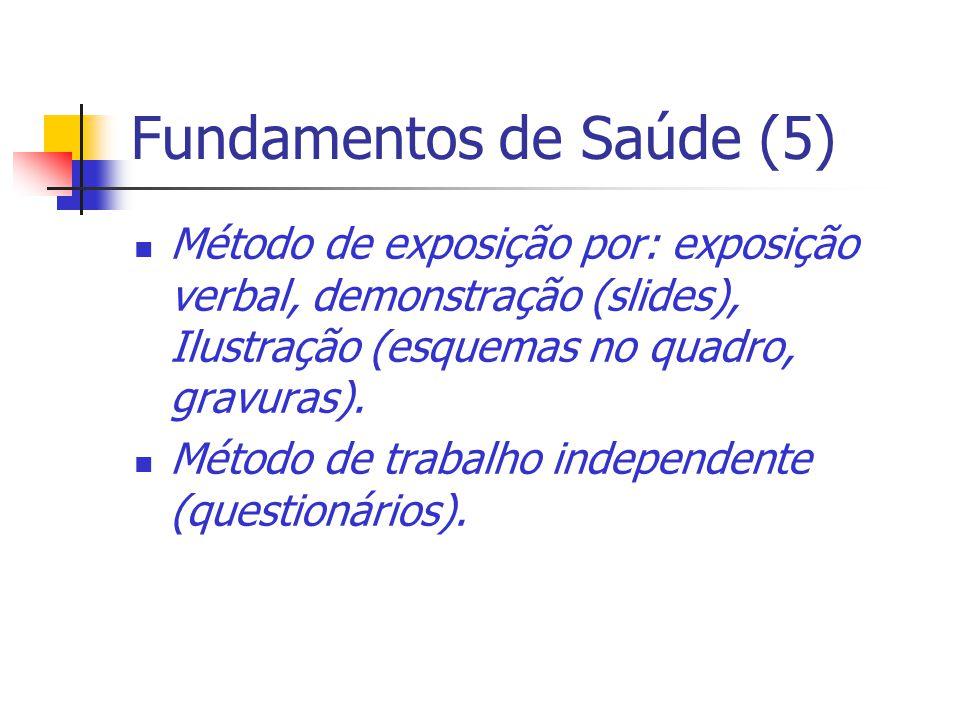 Fundamentos de Saúde (5) Método de exposição por: exposição verbal, demonstração (slides), Ilustração (esquemas no quadro, gravuras). Método de trabal