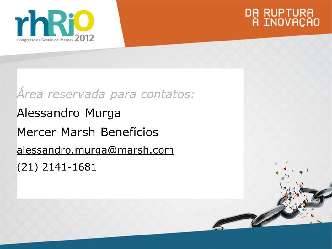 Área reservada para contatos: Alessandro Murga Mercer Marsh Benefícios alessandro.murga@marsh.com (21) 2141-1681