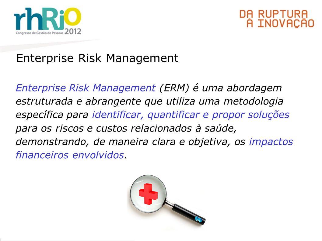Enterprise Risk Management Enterprise Risk Management (ERM) é uma abordagem estruturada e abrangente que utiliza uma metodologia específica para identificar, quantificar e propor soluções para os riscos e custos relacionados à saúde, demonstrando, de maneira clara e objetiva, os impactos financeiros envolvidos.