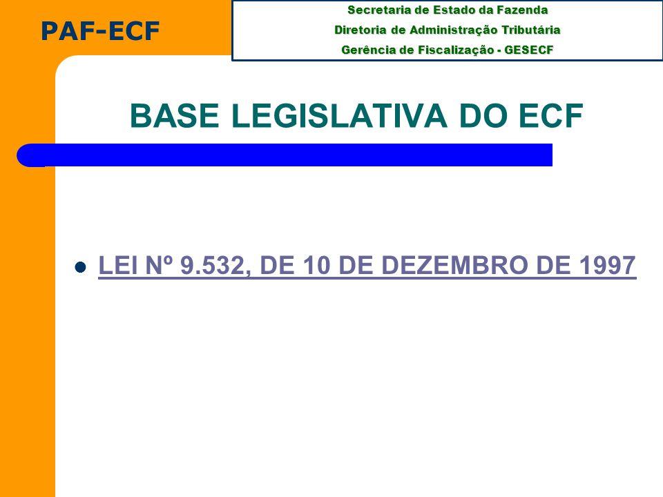 Secretaria de Estado da Fazenda Diretoria de Administração Tributária Gerência de Fiscalização - GESECF PAF-ECF BASE LEGISLATIVA DO ECF LEI Nº 9.532, DE 10 DE DEZEMBRO DE 1997