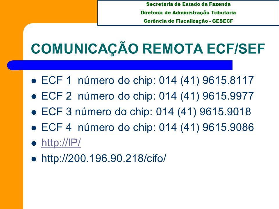Secretaria de Estado da Fazenda Diretoria de Administração Tributária Gerência de Fiscalização - GESECF COMUNICAÇÃO REMOTA ECF/SEF ECF 1 número do chip: 014 (41) 9615.8117 ECF 2 número do chip: 014 (41) 9615.9977 ECF 3 número do chip: 014 (41) 9615.9018 ECF 4 número do chip: 014 (41) 9615.9086 http://IP/ http://200.196.90.218/cifo/