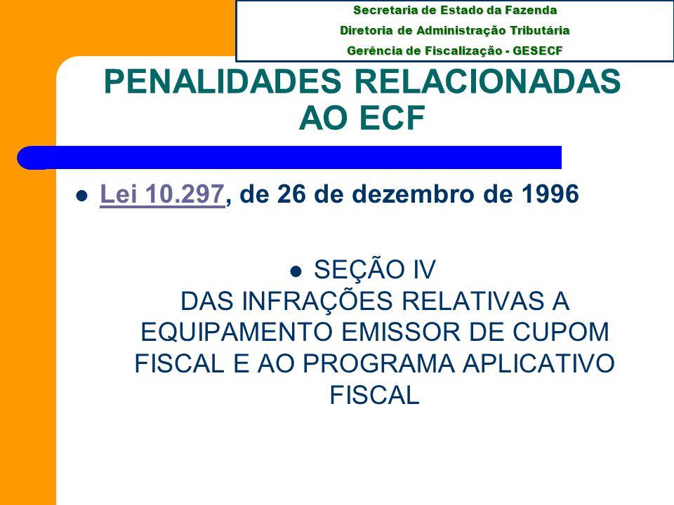 Secretaria de Estado da Fazenda Diretoria de Administração Tributária Gerência de Fiscalização - GESECF PENALIDADES RELACIONADAS AO ECF Art.