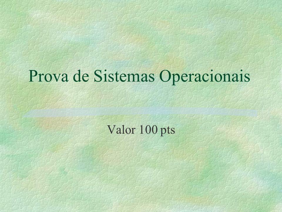Prova de Sistemas Operacionais Valor 100 pts