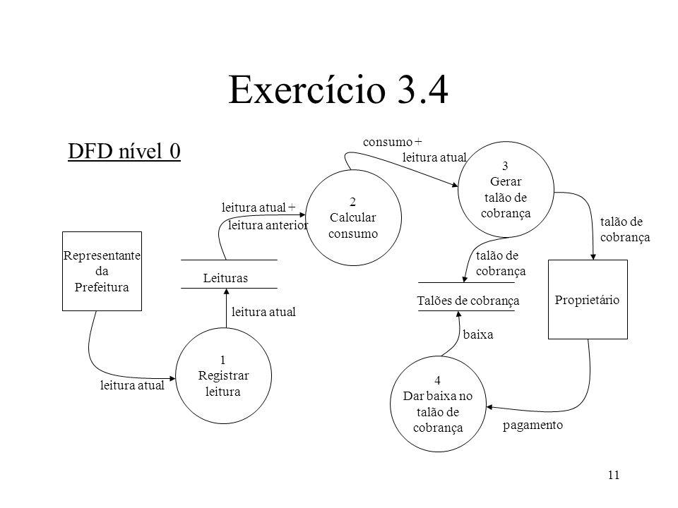 11 Exercício 3.4 DFD nível 0 Representante da Prefeitura Proprietário 1 Registrar leitura 2 Calcular consumo 3 Gerar talão de cobrança 4 Dar baixa no