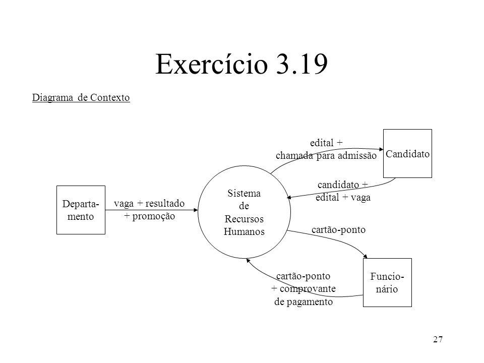 27 Exercício 3.19 Diagrama de Contexto Sistema de Recursos Humanos Departa- mento Candidato Funcio- nário vaga + resultado + promoção edital + chamada