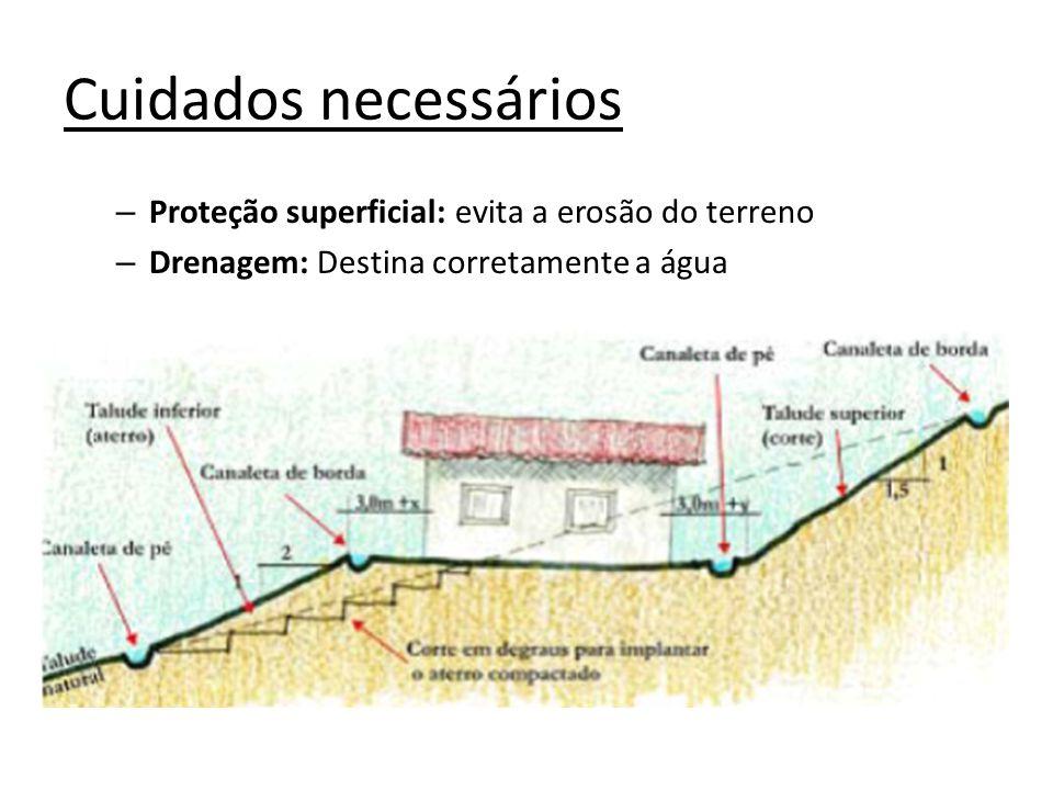 Cuidados necessários – Proteção superficial: evita a erosão do terreno – Drenagem: Destina corretamente a água