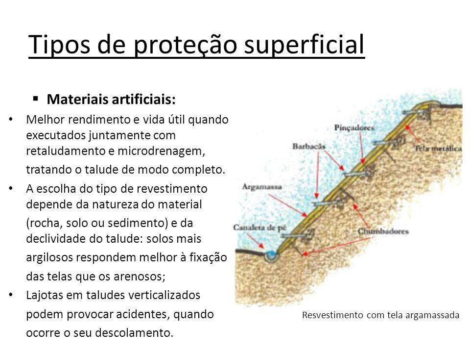 Tipos de proteção superficial Materiais artificiais: Melhor rendimento e vida útil quando executados juntamente com retaludamento e microdrenagem, tra