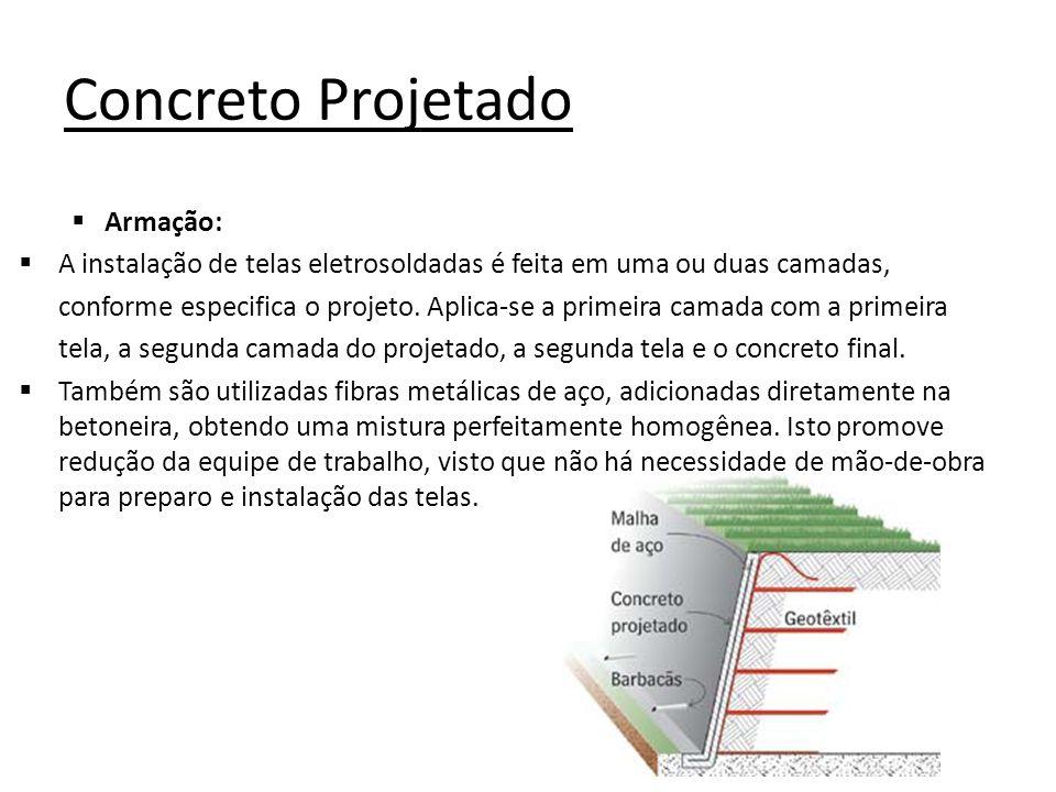 Concreto Projetado Armação: A instalação de telas eletrosoldadas é feita em uma ou duas camadas, conforme especifica o projeto. Aplica-se a primeira c