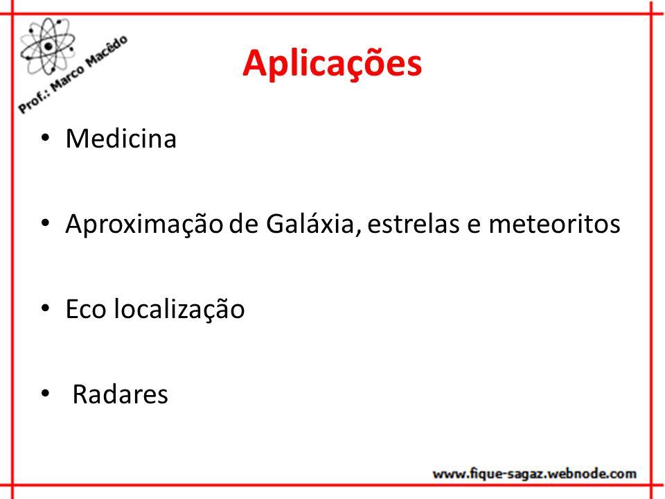 Aplicações Medicina Aproximação de Galáxia, estrelas e meteoritos Eco localização Radares
