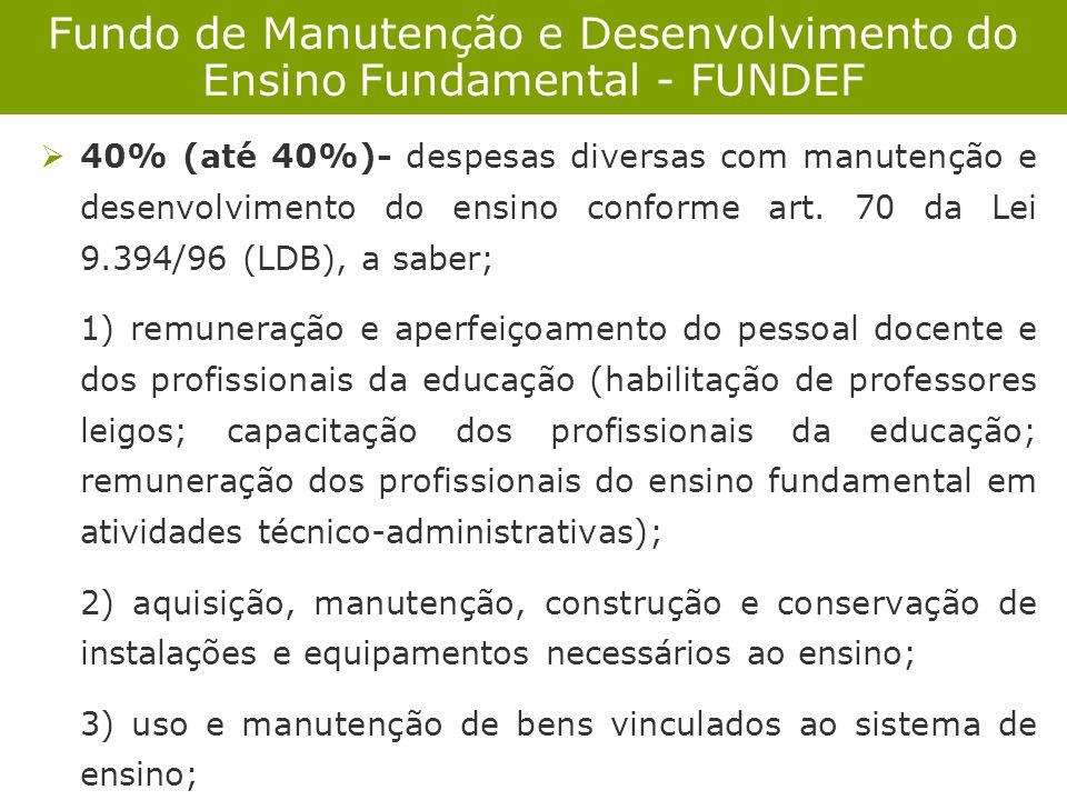 Fundo de Manutenção e Desenvolvimento do Ensino Fundamental - FUNDEF 40% (até 40%)- despesas diversas com manutenção e desenvolvimento do ensino confo