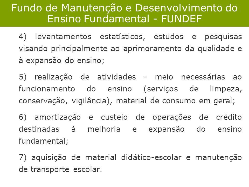 Fundo de Manutenção e Desenvolvimento do Ensino Fundamental - FUNDEF 4) levantamentos estatísticos, estudos e pesquisas visando principalmente ao apri