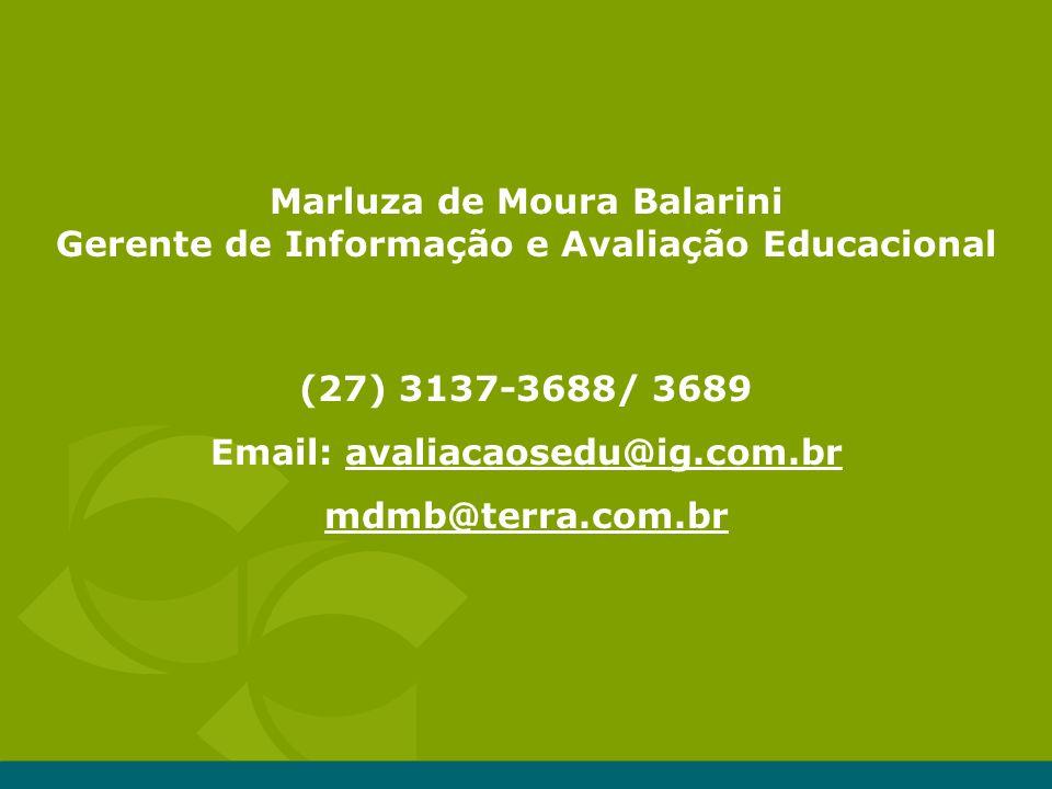 Marluza de Moura Balarini Gerente de Informação e Avaliação Educacional (27) 3137-3688/ 3689 Email: avaliacaosedu@ig.com.br mdmb@terra.com.br