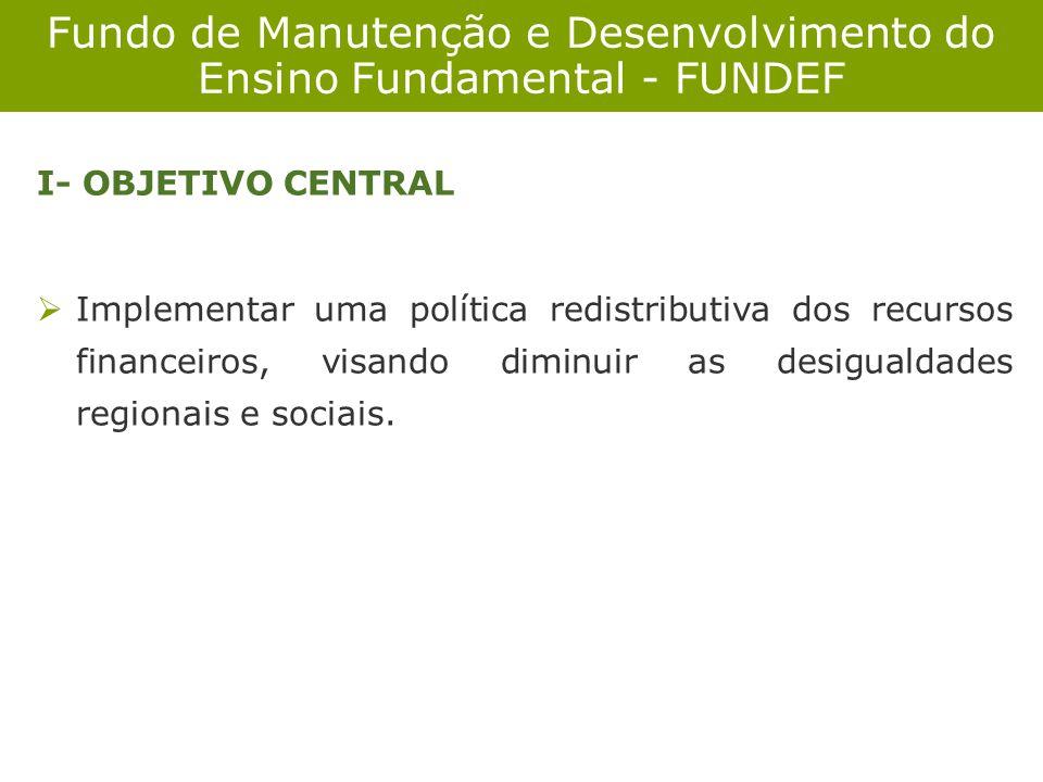 I- OBJETIVO CENTRAL Implementar uma política redistributiva dos recursos financeiros, visando diminuir as desigualdades regionais e sociais.