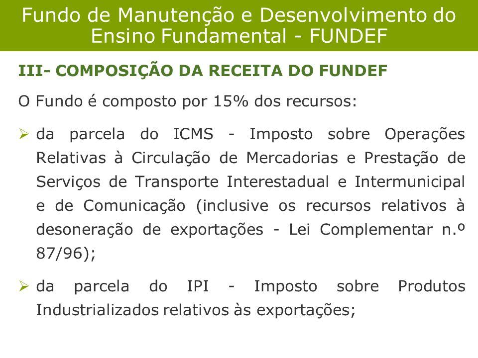 Fundo de Manutenção e Desenvolvimento do Ensino Fundamental - FUNDEF III- COMPOSIÇÃO DA RECEITA DO FUNDEF O Fundo é composto por 15% dos recursos: da