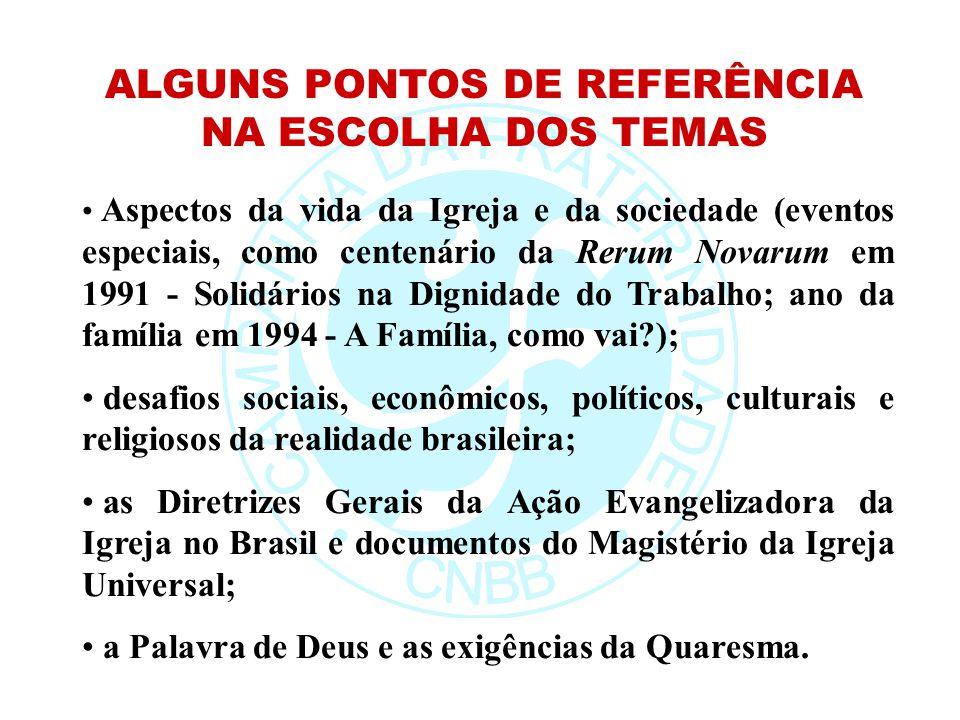 Aspectos da vida da Igreja e da sociedade (eventos especiais, como centenário da Rerum Novarum em 1991 - Solidários na Dignidade do Trabalho; ano da f