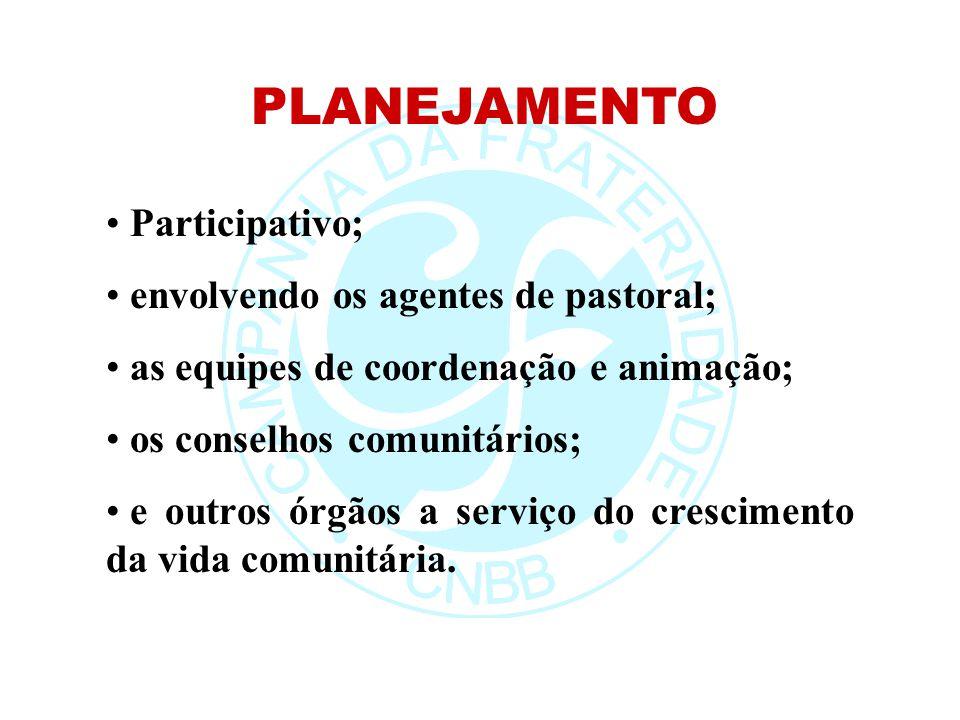 PLANEJAMENTO Participativo; envolvendo os agentes de pastoral; as equipes de coordenação e animação; os conselhos comunitários; e outros órgãos a serv