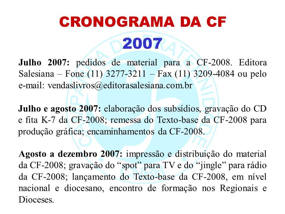 2007 CRONOGRAMA DA CF Julho e agosto 2007: elaboração dos subsídios, gravação do CD e fita K-7 da CF-2008; remessa do Texto-base da CF-2008 para produ